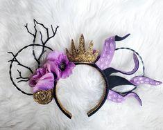 Little Mermaid Minnie Ears, The Little Mermaid, Disney Mickey Ears, Mickey Minnie Mouse, Minnie Mouse Headband, Pink Castle, Oogie Boogie, Ursula, Silk Flowers