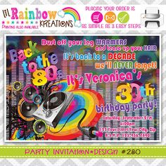 280 DIY  Back to The 80's Party Invitation Or by LilRbwKreations, $11.00