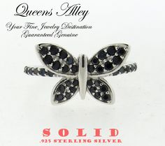 0.40ctw Black Spinel .925 Solid Sterling Silver Butterfly Ring. Starting at $1