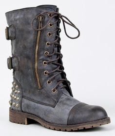 HARLEY-12 Studded Lace Up Distress Buckle Mid Calf Military Combat Boot:Amazon:Shoes