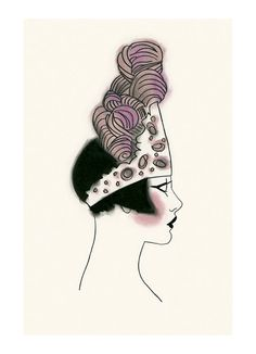 Art Deco print - art print . Art Deco Millie in Pink Ostrich Feathers 4 X 6 print - 4 for 3 SALE