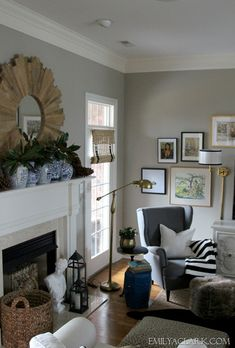 Our (winter) living room. Walls: Sherwin Williams Amazing Gray