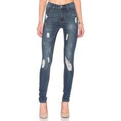 Cheap Monday Second Skin Skinny ($72) ❤ liked on Polyvore featuring jeans, pants, torn jeans, blue ripped jeans, super distressed skinny jeans, blue skinny jeans and destroyed skinny jeans