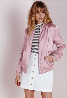 Silky Bomber Jacket Mauve - Coats and Jackets - Bomber Jackets - Missguided