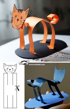 Gat de paper Diy For Kids, Projects For Kids, Crafts For Kids, Paper Crafts Kids, Chat Halloween, Halloween Cat Crafts, Diy アート, Easy Diy, Paper Animals