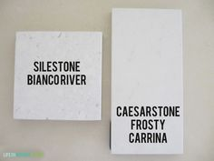 Silestone Bianco River and Caesarstone Frosty Carrina samples