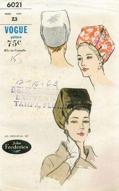 "60s Vintage Orig High Pillbox Hat John Frederics Vogue 6021 Sewing Pattern 23"" | eBay"