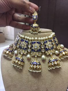 Jhumka Design Meenakari Polki Set - Jewellery Designs