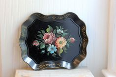 Toleware Tray, Nashco Tray, Handpainted, Roses, Flowers, English Garden Decor, Vintage Tray, Floral Art, Shabby Chic, Black Tray, Gold