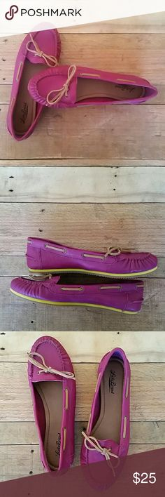 Lucky Brand ladies deck shoes/ loafers / moccasins Beautiful fuschia loafers. Worn once only for a couple of hours. Excellent condition. I feel like they fit more like a  10 Lucky Brand Shoes Flats & Loafers