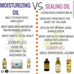 Moisturizing Oil Vs Sealing Oil is part of Natural hair care - It is crucial to your hair regimen that you are able to differentiate a moisturizing oil vs sealing oil so you know when to use which ones Natural Hair Regimen, Natural Hair Care Tips, Natural Hair Growth, Natural Hair Journey, Natural Hair Styles, Relaxed Hair Regimen, Natural Haircare, 4a Hair Tips, Oil For Hair Growth