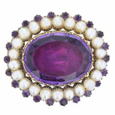 Antique Victorian Amethyst Pearl Gold Brooch