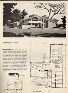 Dramatic Mid Century Modern House Plans   (space Age, Atomic Era, Homes)