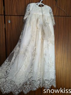 Stunning Beaded Lace Baby Girl White/Ivory First Communion Dresses Christening Gown Baptism Dress With Bonnet http://deals-today.net/products/stunning-beaded-lace-baby-girl-whiteivory-first-communion-dresses-christening-gown-baptism-dress-with-bonnet/