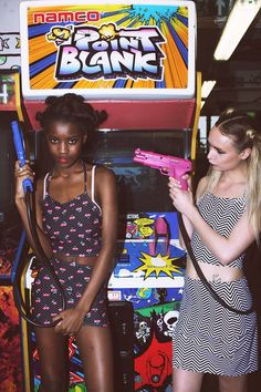 90s inspired two piece sets,cherry print and zig zag hypnotic spandex - arcade fashion shoot