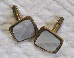Vintage Mother of Pearl RETRO CUFF LINKS 1960s by vintagous, $12.00