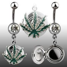 Pot Leaf Belly Ring with Locket Navel Ring Body Jewelry