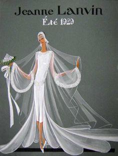 Jeanne Lanvin wedding dress illustration, Summer 1929.