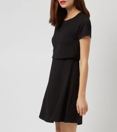 £22.99 Dress New Look Black Layered Cut Out Back Skater Dress