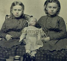 Tintype Photo of Two Young Girls with Large Papier Mache Doll, Alice Hairstyle