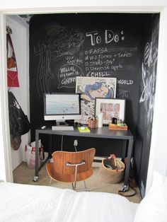 Love this chalkboard wall for the office!