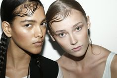 Backstage at DKNY Spring 2015 - Fierce brow and blushed cheeks