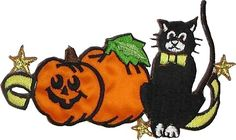 """Amazon.com: [Single Count] Custom and Unique (4 1/8"""" x 2 1/2"""" Inch) """"Halloween"""" Vintage Traditional Spooky Jackolantern & Cat Design Iron On Embroidered Applique Patch {Gold, White, Orange, Green & Black Colored}"""