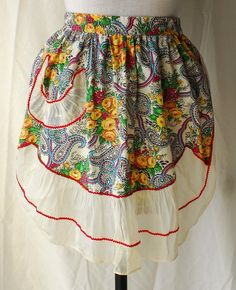 Women's 1940s Paisley and Flower Print Apron with Sheer White Cotton Ruffle and Pocket