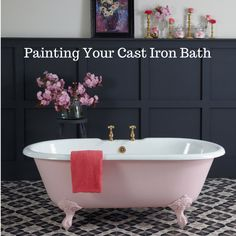 Painting Your Cast Iron Bath - Cast Iron Bath CompanyCast Iron Bath Company Pink Tub, Pink Bathtub, Tub Refinishing, Cast Iron Bathtub, Cast Iron Tub Refinish, Mobile Home Makeovers, Painting Bathtub, Cool Shower Curtains, Mobile Home Decorating