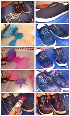 another galaxy shoes tutorial! Would be great to use glitter for the | http://handmade775.blogspot.com