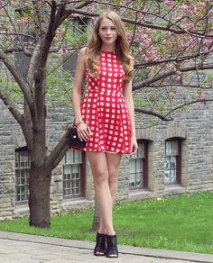 Natalie Ast - Design Lab Red Gingham Dress, Vince Camuto Shoeties, Saks Fifth Avenue Quilted Bag - Red gingham dress