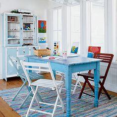 Cottage Kitchen - love that kitchenette in the background