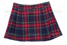 Short plaid skirt ...  beauty, blue, casual, classic, clothing, college, color, design, fashion, female, garment, image, isolated, new, nobody, object, plaid, red, shirt, short, single, studio, style, summer, textile, vertical, white, wool, woolen