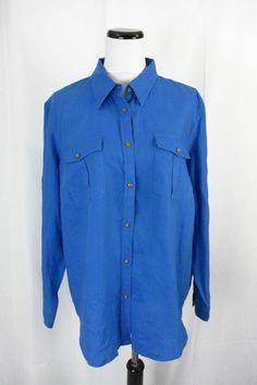 Ralph Lauren Shirt Blouse Plus size 2X Blue Linen Mongram #RalphLauren #ButtonDownShirt #Career