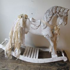 Wood carved rocking horse cream white by AnitaSperoDesign on Etsy