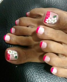 Uñas Toe Nail Flower Designs, French Nail Designs, Nail Art Designs, Pretty Toe Nails, Cute Toe Nails, Toe Nail Color, Toe Nail Art, Feet Nail Design, Feet Nails