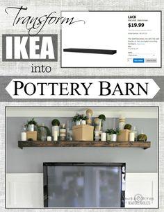 Easily turn an Ikea floating shelf into a Pottery Barn knock off.  #ikeahack #potterybarndecor #diy @Remodelaholic