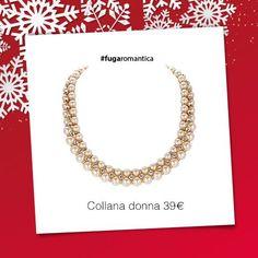 Collana in metallo con bagno in oro rosa, cristalli bianchi e perle sintetiche rosa pesca Luca Barra Gioielli. #collana #donna #perle #newcollection #lucabarra #natale2014