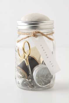 Mason Jar Sewing Kit - Anthropologie.com This would be so easy to make for gifts.