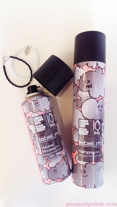 Label.m 10 years anniversary product design! Check out my review http://pinsandpolish.com/2015/05/10/review-label-m-volume-mousse-hairspray/