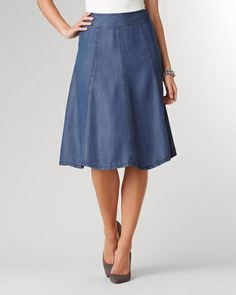 Tencel® flare skirt | Coldwater Creek Everything you love about denim, in trans-season Tencel®. Washed-down softness; wide waist, eight gores. Side zip. Unlined. Feminine silhouette, Below-knee length, Machine wash for easy care
