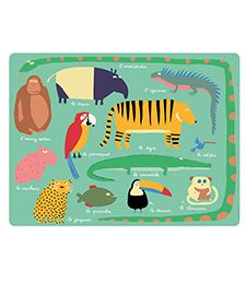 Brighten up your children's meal times with these adorable jungle and forest themed placemats made by Petit Jour. Placemat Design, Placemat Sets, Anaconda, Jaguar, Crocodile, Childrens Meals, Novelty Mugs, Jungle Animals, Paris