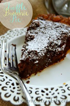 Truffle Brownie Pie ~ Who knew gooey brownies could get better? This Truffle Brownie Pie proves they can! So fudgy and decadent! #truffle #brownie #pie
