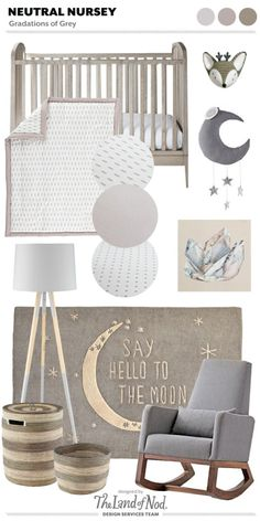When designing with a gender neutral grey nursery use gradations of grey. Grey is a gender neutral hue and a perfect foundation color for any space. The post Gender Neutral Grey Nursery Moodboard appeared first on Children's Room. Baby Bedroom, Baby Boy Rooms, Baby Room Decor, Baby Boy Nurseries, Nursery Room, Girl Nursery, Girl Room, Disney Nursery, Boho Nursery