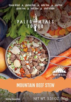 Paleo Meals To Go Mountain Beef Stew is the hale and hearty freeze-dried meal to keep your hunger at bay. #PaleoMealsToGo #GlutenFree #FreezeDried #Backpacking #Hiking #Camping #Outdoors #Food #Paleo #PaleoDiet #feedyouradventure #health #adventure #beach #backcountry #travel #outside #MRE #nutrition #nomnom #grainfree #nutfree