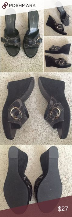 Coach Wedges Classic Coach Wedges   Style:   Meredith Size: 8.5 M   Heel is about 3.5-4 inches.    In Good condition.  Bottom soles in great condition. Suede on wedges has little wear due to fabric and mixed with my other shoes.  A little narrow for me; I have wide feet. Coach Shoes Wedges