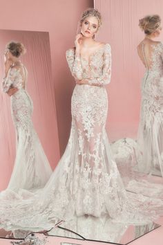 zuhair murad spring summer 2016 bridal long sleeves plunging neckline lace trumpet wedding dress patricia