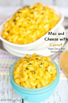 Gluten Free Dairy Free Mac and Cheese made with Carrot- PetiteAllergyTreats Classic now healthy and dairy free with carrot!!