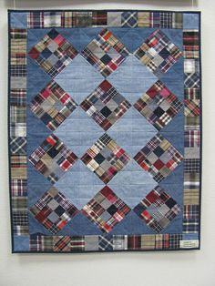 Mens Patchwork Shirt Denim Quilts 64 Ideas For 2019 Flannel Quilts, Plaid Quilt, Rag Quilt, Scrappy Quilts, Mini Quilts, Shirt Quilts, Quilting Projects, Quilting Designs, Quilting Ideas