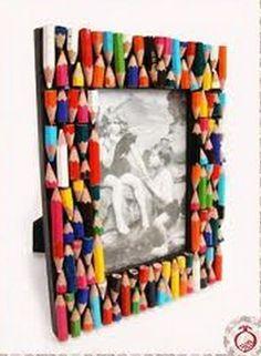 Surroundings Bariri: Ideas to customize picture frames …, … - Diy & Craft Days Kids Crafts, Diy Home Crafts, Craft Projects, Marco Diy, Cadre Photo Diy, Diy Para A Casa, Diy Y Manualidades, Diy Frame, Recycled Crafts